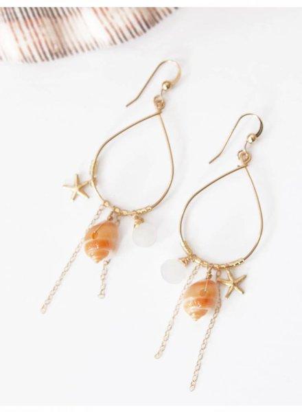 HI KOMAKAI Kamuela Earrings 14K GF FROG SHELL RNBW MOON KAM-E-RMN KO12K9