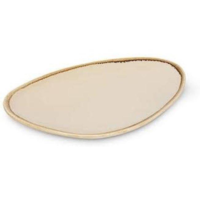 "Abbott Large Rustic Rim Plate 12"" - Almond"