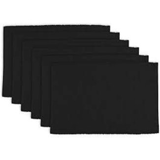100% Cotton Ribbed Placemat- Black