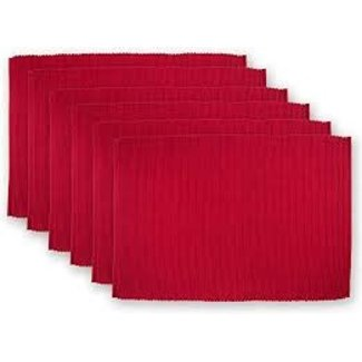 100% Cotton Ribbed Placemat- Tango Red