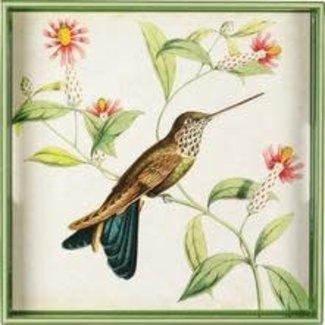 """RockFlowerPaper 15"""" Square Tray - Hummingbird"""