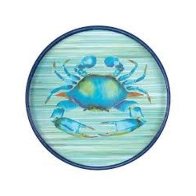 "RockFlowerPaper Rock Flower Paper 18"" Round Tray - Blue Crab"