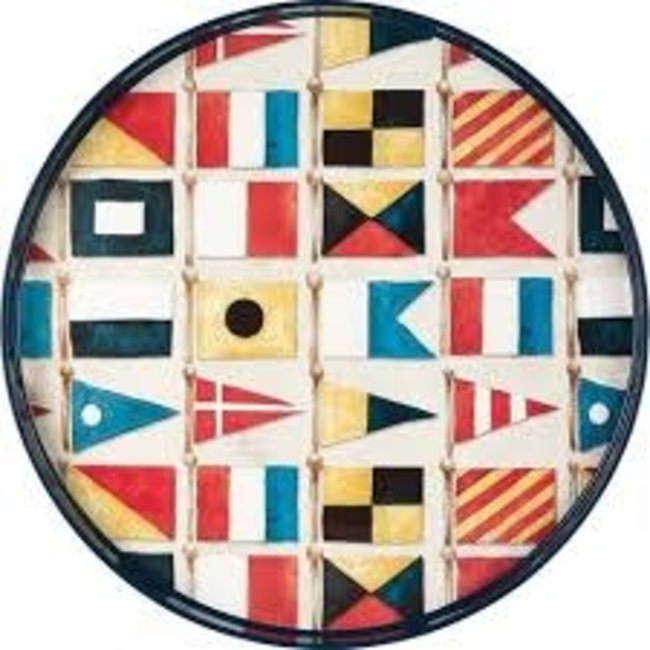 RockFlowerPaper Rock Flower Paper 18' Round Tray - Nautical Flags