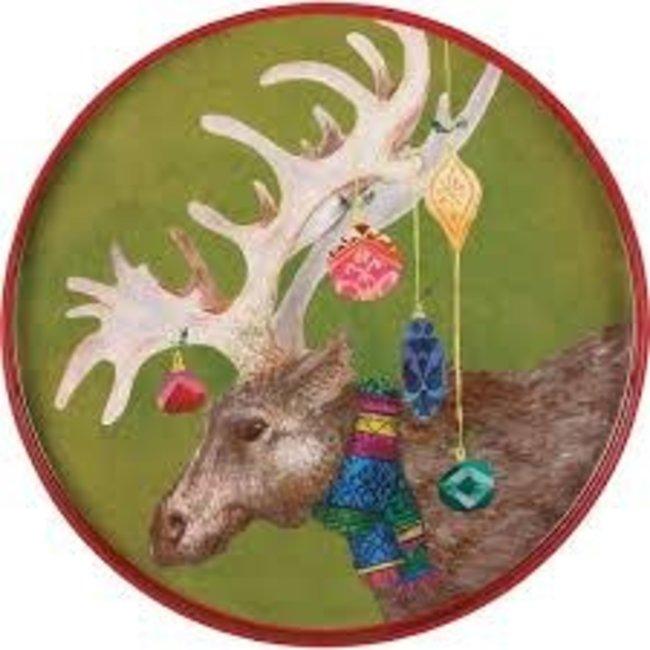 """RockFlowerPaper Rock Flower Paper 18"""" Round Tray - Festive Moose"""