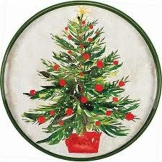 "RockFlowerPaper 18"" Round Tray - Christmas Tree"