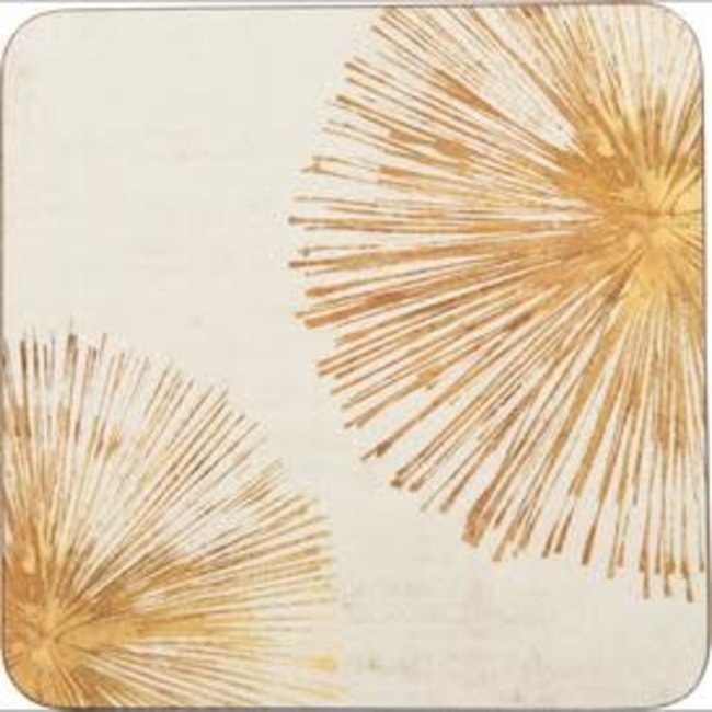 RockFlowerPaper Rock Flower Paper Coasters Set of 4- Gold Sunbursts