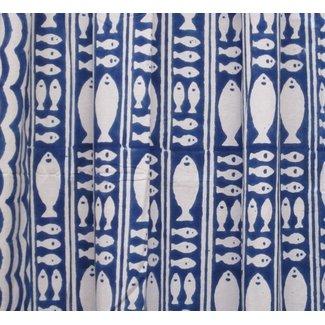 Natural Habitat Shower Curtain - Stripe Fish Blue