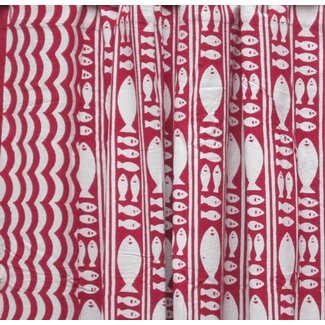 Natural Habitat Shower Curtain - Stripe Fish Red