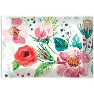 Michel Design Works Rectangular Glass Soap Dish- Wild Berry Blossom