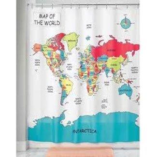 InterDesign World Map Shower Curtain Multi