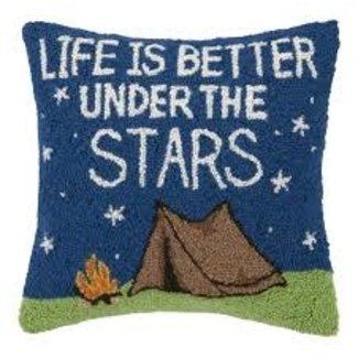 Peking Handicraft Peking Handicraft Hook Pillow - Life is Better Under The Stars