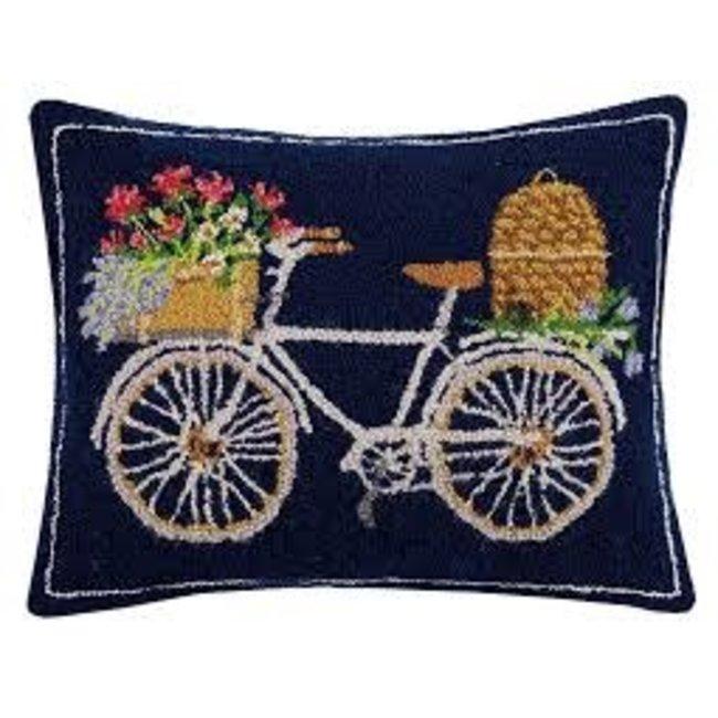 Peking Handicraft Peking Handicraft Hook Pillow 20x16- Bicycle with Basket