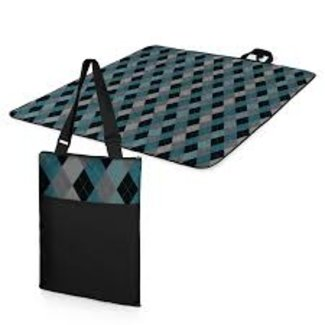 Picnic Time Picnic Time Vista Blanket XL - Black with Blue Argyle Print