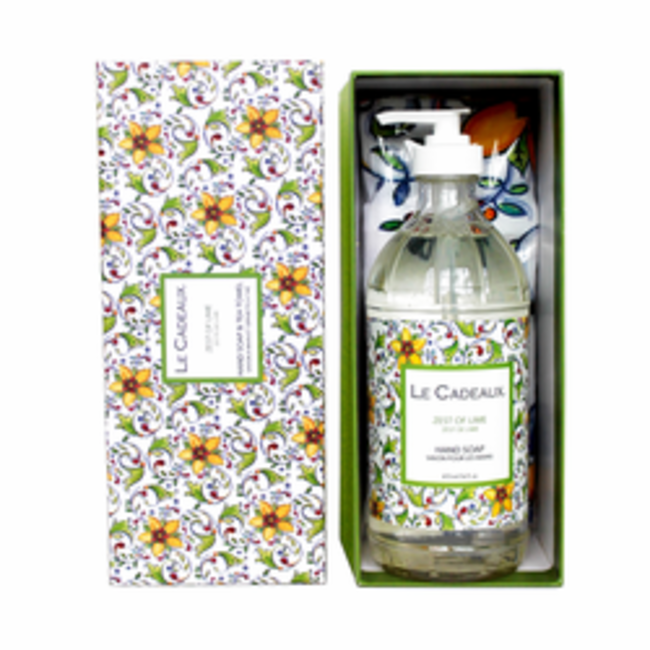 Le Cadeaux Le Cadeaux Hand Soap Tea Towel Gift Set - Zest Of Lime