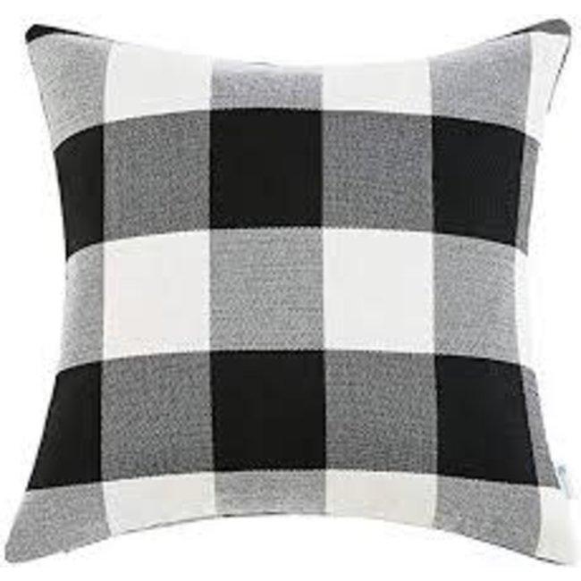 Adv Black And White Check Pillow 20x20