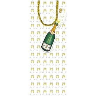 Caspari Caspari Bottle Gift Bag with Tag - Bubbly
