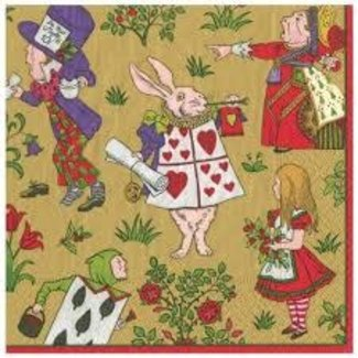 Caspari Caspari Cocktail Napkins - ALICE IN WONDERLAND GOLD
