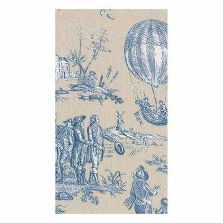 Caspari Caspari Hostess Napkins - MONTGOLFIERE TOILE BLUE GUEST TOWEL