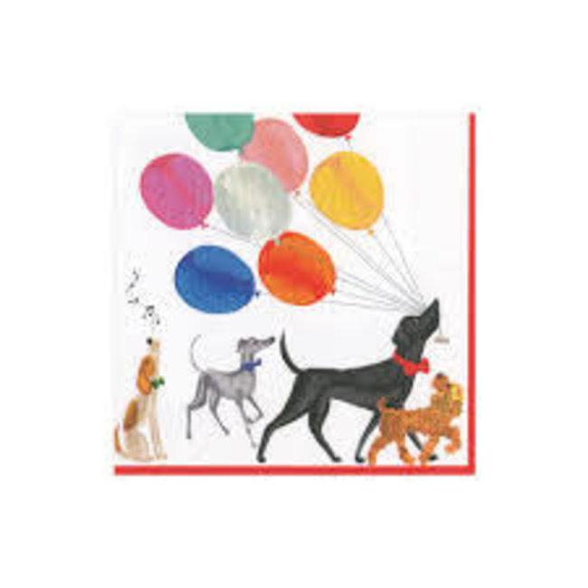 Caspari Caspari Luncheon Napkins- Charlee's Parade (Dogs with Balloons)