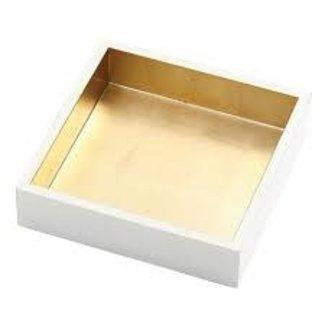 Caspari Caspari Cocktail Napkin Holder - Ivory/gold