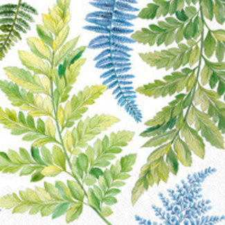 Boston International Luncheon Napkin- Awea Fern Blue And White
