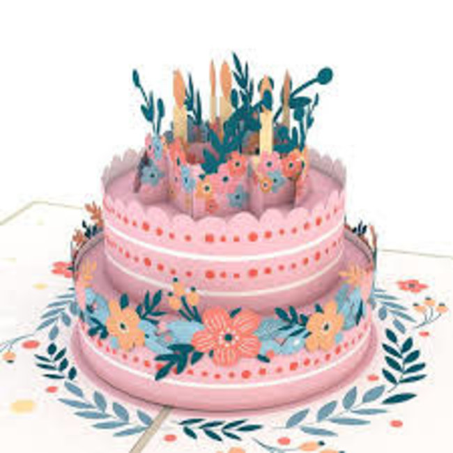 LovePOP Love Pop Greeting Card- Floral Birthday Cake
