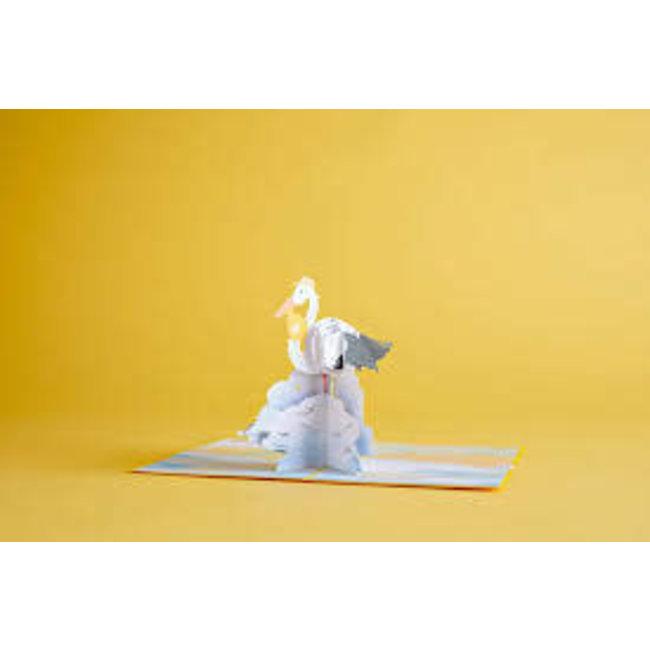LovePOP Love Pop Greeting Card - Stork Yellow Baby Shower card Gender Neutral