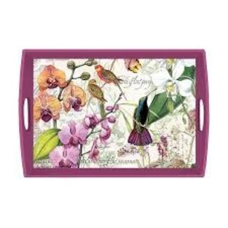 "Michel Design Works MDW Rectangular 20"" Wooden Large Tray -Orchids In Bloom"