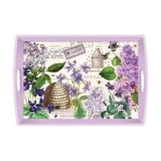 "Michel Design Works MDW Rectangular 20"" Wooden Large Tray -Lilac and Violets"