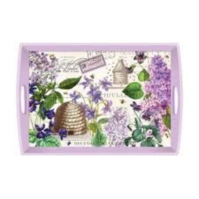 """Michel Design Works MDW Rectangular 20"""" Wooden Large Tray -Lilac and Violets"""