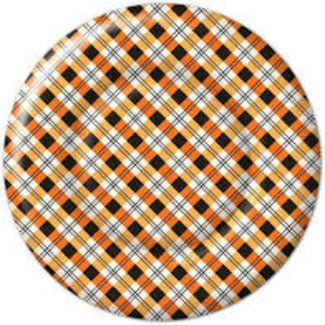 Boston International Paper Plates - Plaid Pumpkin's Round
