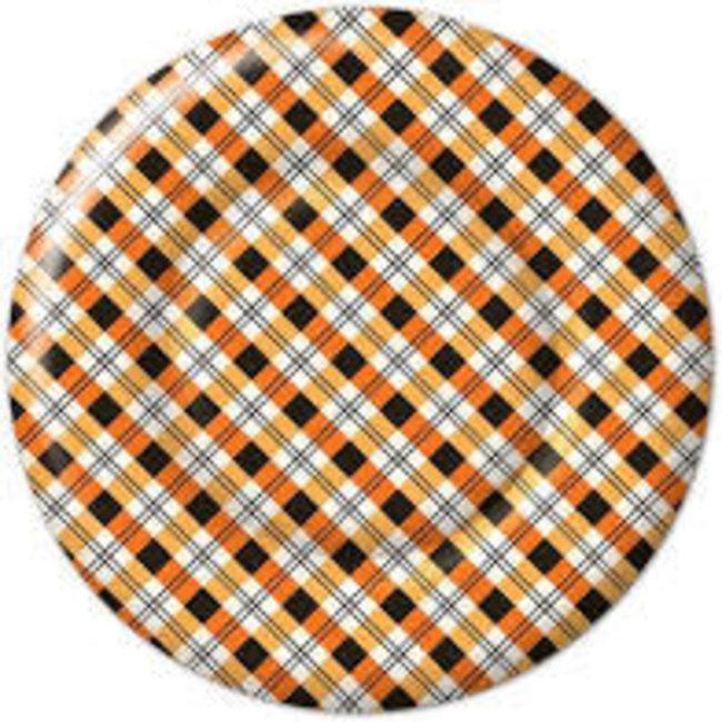 Boston International Paper Plates - Plaid Pumpkin's Round
