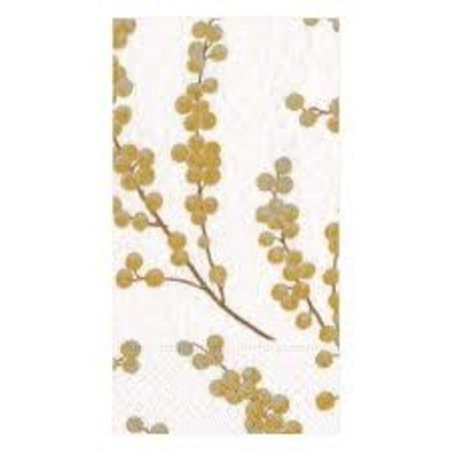 Caspari Caspari Hostess Napkin - Berry Branches White/Gold