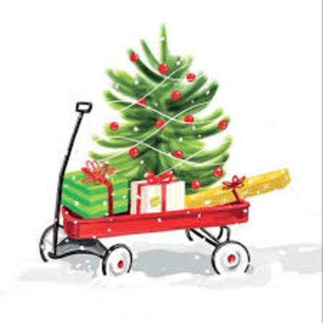 PPD PPD Luncheon Napkin- Christmas Wagon