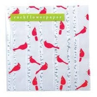 RockFlowerPaper Rock Flower Paper Cocktail Napkins- Cardinals Birch Trees