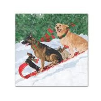 PPD PPD Cocktail Napkin - Tobogganing Dogs