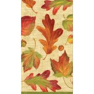 Caspari Caspari Hostess Napkin- Linen Leaves Natural