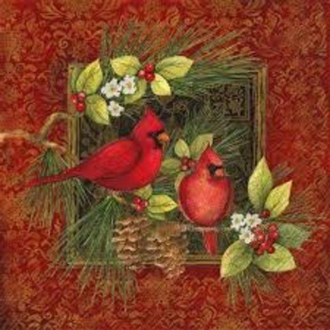 Boston international Luncheon Napkin - Botanical Christmas Birds  (Cardinals on Red)
