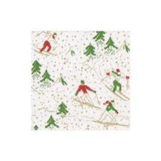 Caspari Caspari Hostess Napkins - WINTER SPORTS WHITE