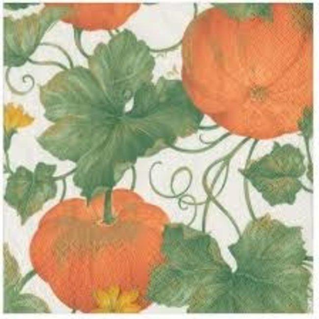 Caspari Caspari Luncheon Napkin - Heirloom Pumpkins  Ivory/Orange