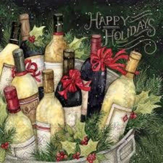 Boston International Luncheon Napkin -Christmas Wine Bucket