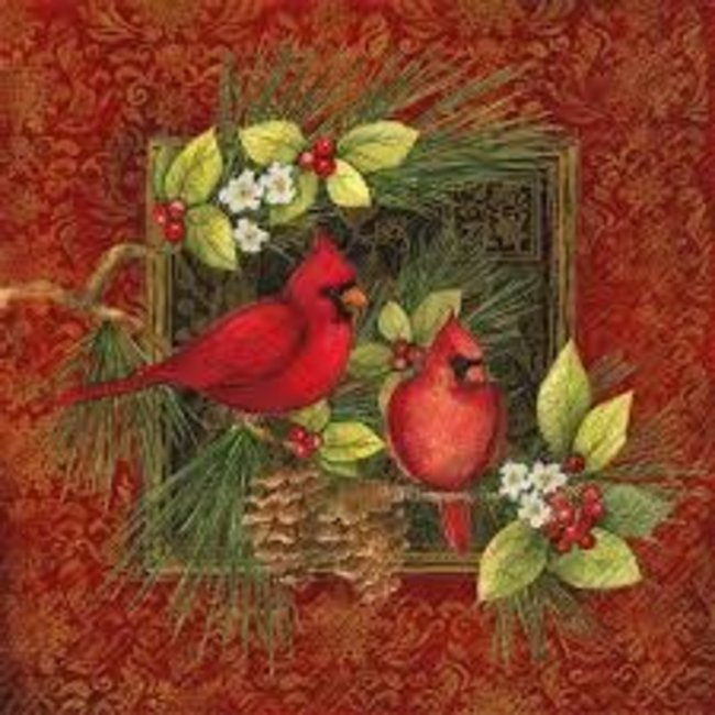 Boston international Cocktail Napkin - Botanical Christmas Birds  (Cardinals on Red)