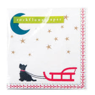 RockFlowerPaper Rock Flower Paper Cocktail Napkins- Dog Sled (scottie with red sled and moon)