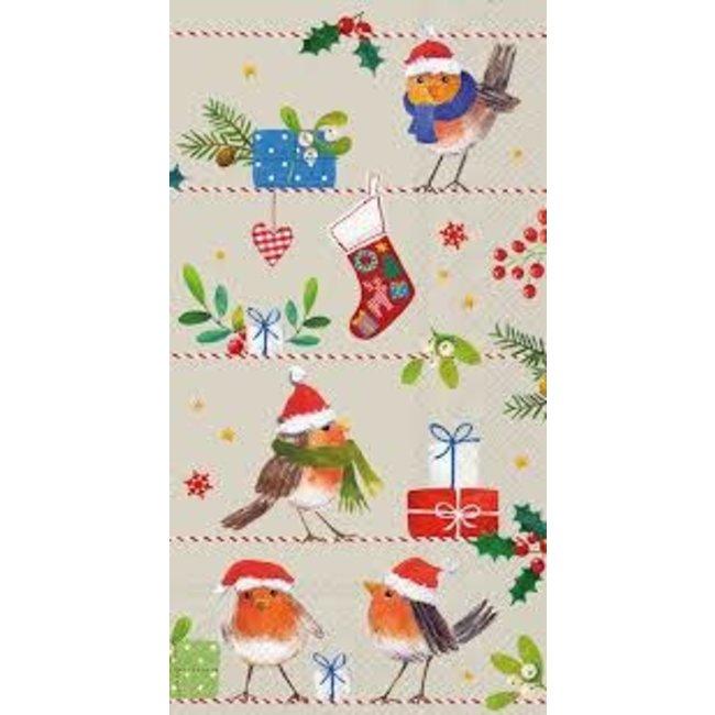 Boston international Hostess Napkin -Merry Little X-mas (Birds with santa hats)