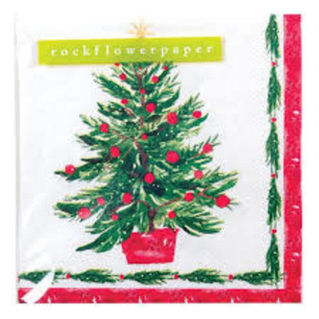 Rockpaperflower Rock Flower Paper Cocktail Napkins- Christmas Tree (In Red Planter)