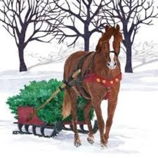 PPD PPD Luncheon Napkin-  Winter Horse Sleigh