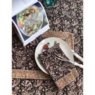"""Petal Pushing Tablecloth 70 x 128 """" - Noir Kalamkari"""