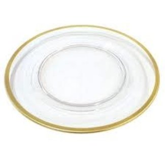 Caspari Caspari  Charger Plate- Clear With Gold Rim