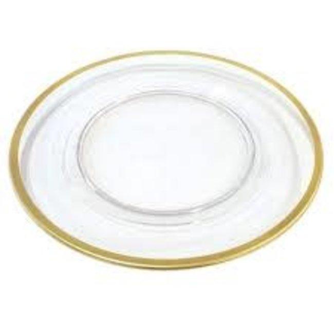 Caspari Caspari  Charger Plate- Clear With Gold Rim