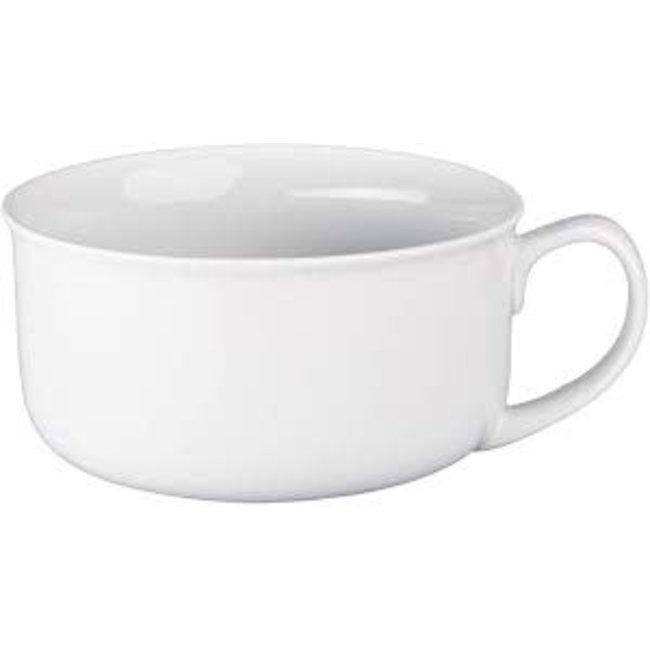 BIA Handled Soup Bowl- White Ware 20 oz